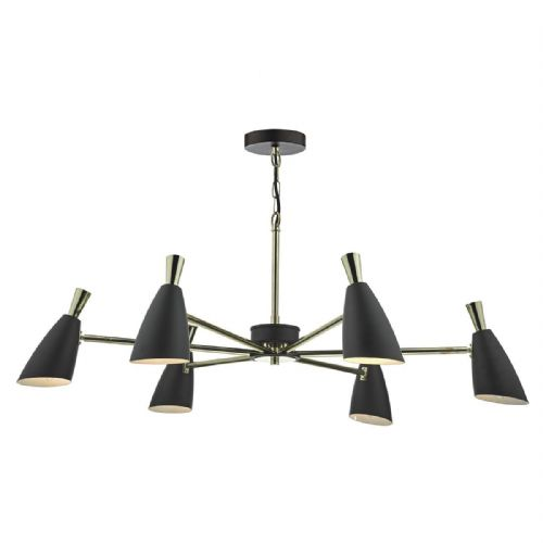 Diego 6 Light Pendant Black Gold